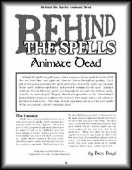 Role Playing Games - Behind the Spells: Animate Dead