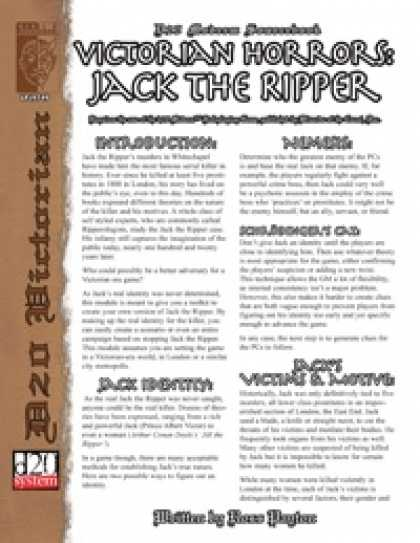 Role Playing Games - Victorian Horrors: Jack the Ripper