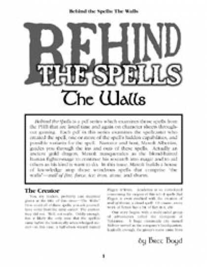 Role Playing Games - Behind the Spells: The Walls