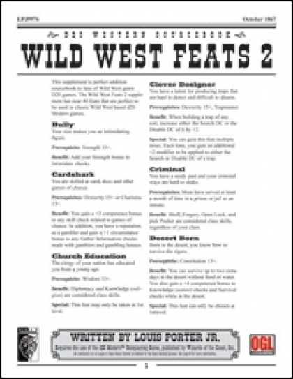 Role Playing Games - Wild West Feats 2