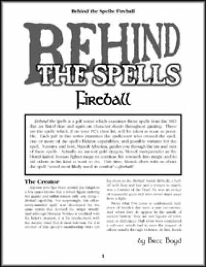 Role Playing Games - Behind the Spells: Fireball
