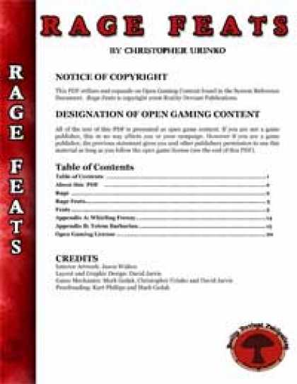 Role Playing Games - RDP: Rage Feats