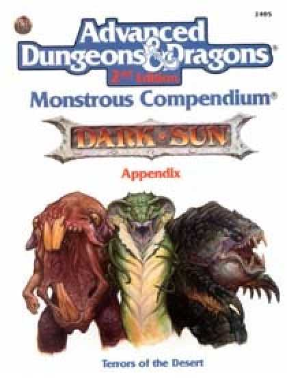 Role Playing Games - Monstrous Compendium - Dark Sun Appendix