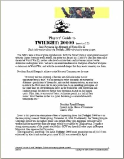 Role Playing Games - DTRPG Guide to Twilight: 2000 version 2.0