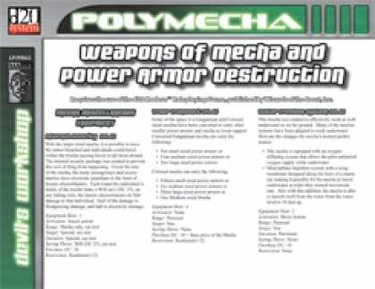 Role Playing Games - Weapons of Mecha and Power Armor Destruction