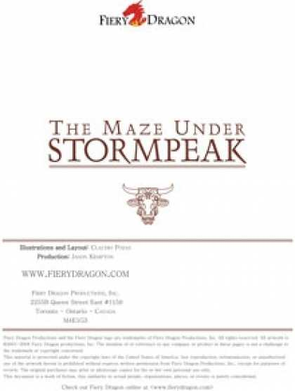 Role Playing Games - Counter Pack: The Maze Under Stormpeak