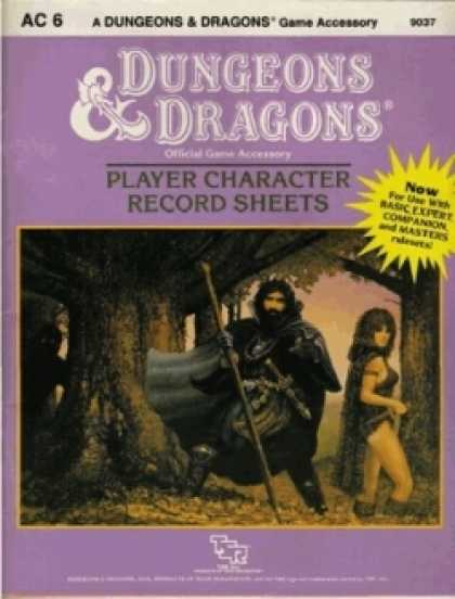 Role Playing Games - AC 6 D&D Player Character Record Sheets