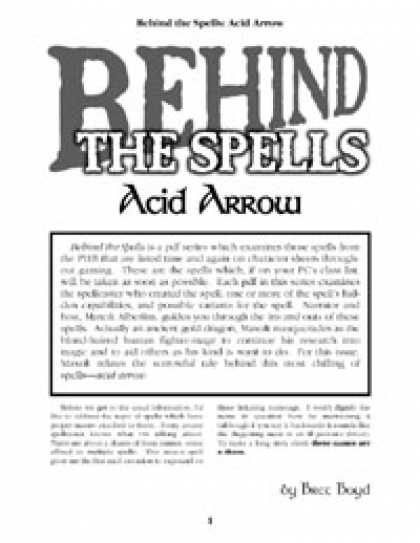Role Playing Games - Behind the Spells: Acid Arrow