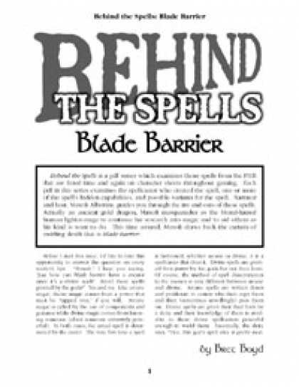 Role Playing Games - Behind the Spells: Blade Barrier
