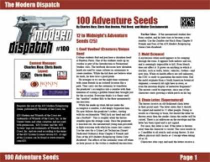 Role Playing Games - Modern Dispatch (#100): 100 Adventure Seeds