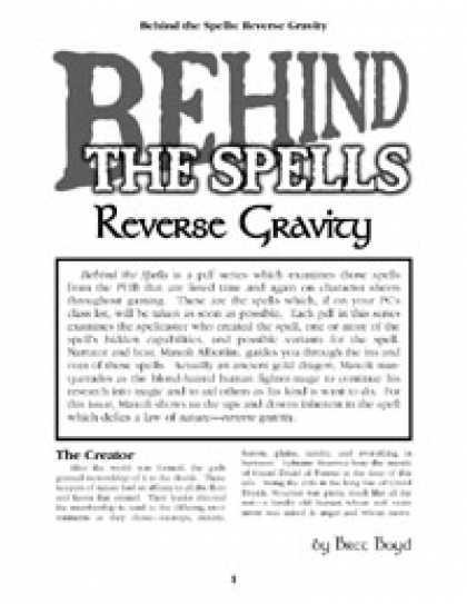 Role Playing Games - Behind the Spells: Reverse Gravity