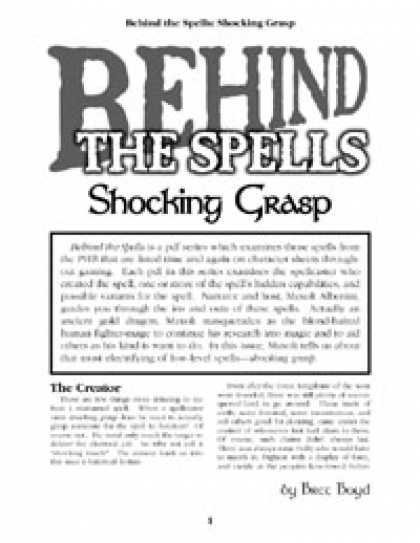 Role Playing Games - Behind the Spells: Shocking Grasp