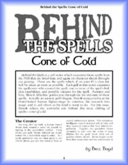 Role Playing Games - Behind the Spells: Cone of Cold