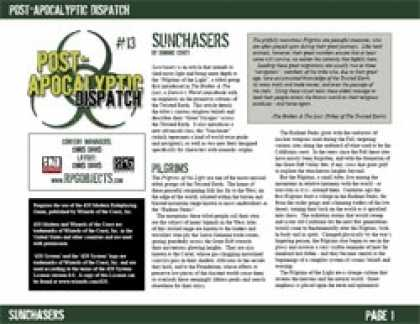 Role Playing Games - Post-Apocalyptic Dispatch (#13): Sunchasers