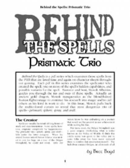 Role Playing Games - Behind the Spells: Prismatic Trio