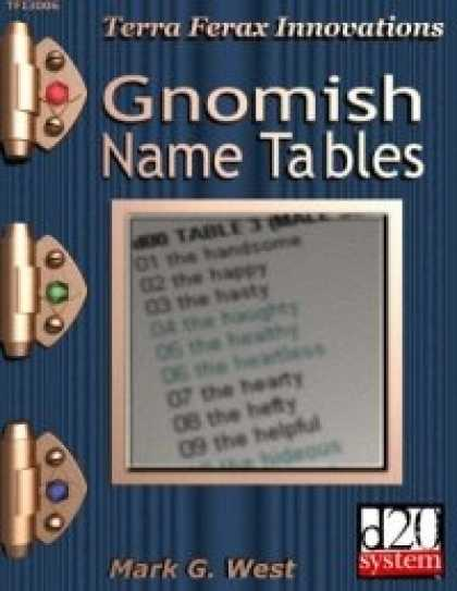 Role Playing Games - Gnomish Name Tables