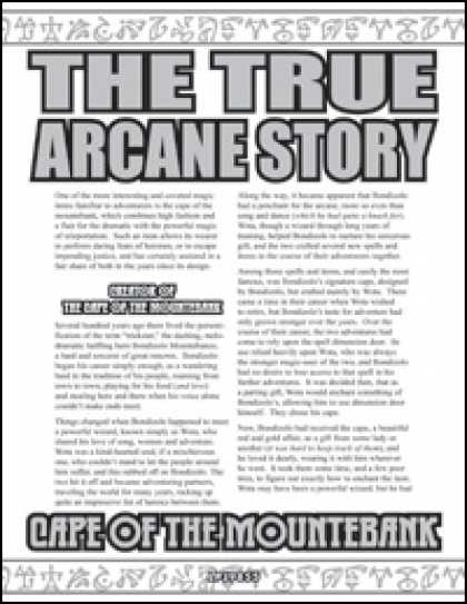 Role Playing Games - The True Arcane Story: Cape of the Mountebank