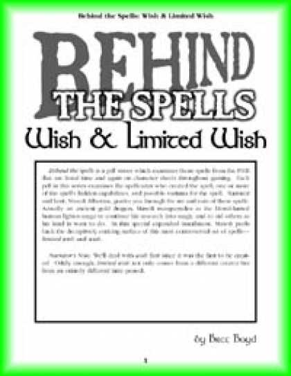Role Playing Games - Behind the Spells: Wish & Limited Wish