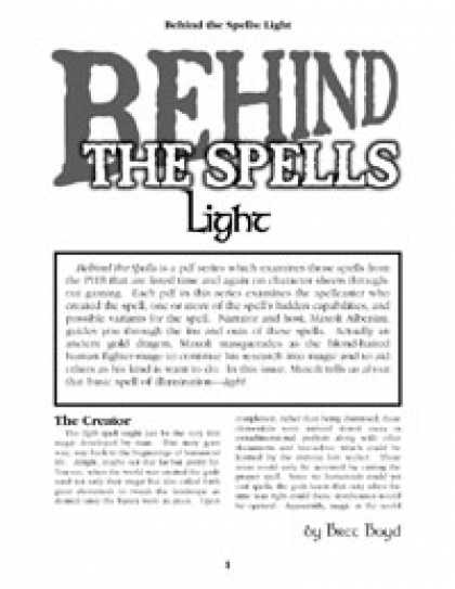Role Playing Games - Behind the Spells: Light