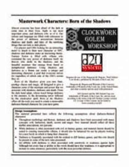 Role Playing Games - Masterwork Characters: Born of the Shadows