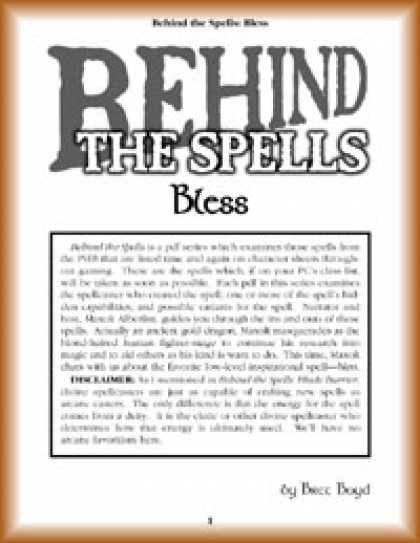 Role Playing Games - Behind the Spells: Bless