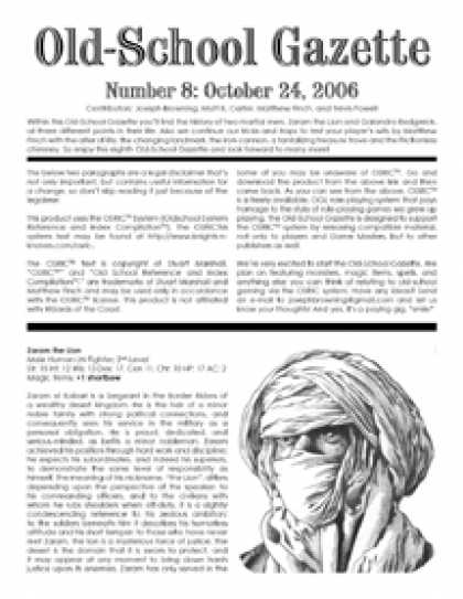 Role Playing Games - Old-School Gazette #8