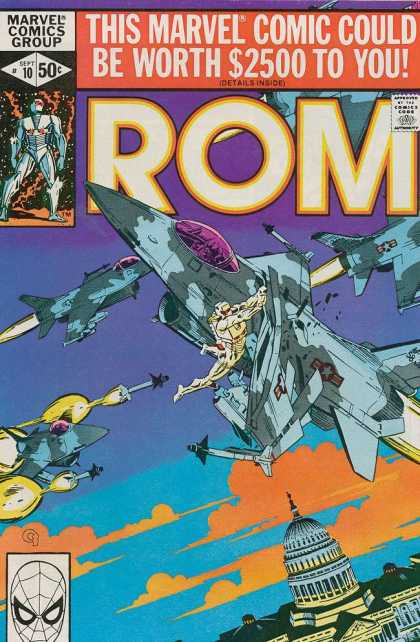 ROM Spaceknight 10 - Marvel Comics - Airplanes - Missles - Sky - Clouds