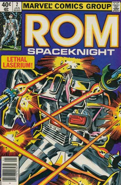 ROM Spaceknight 2 - Marvel Comics Group - Approved By The Comics Code - Lethal Laserium - Robot - Laser