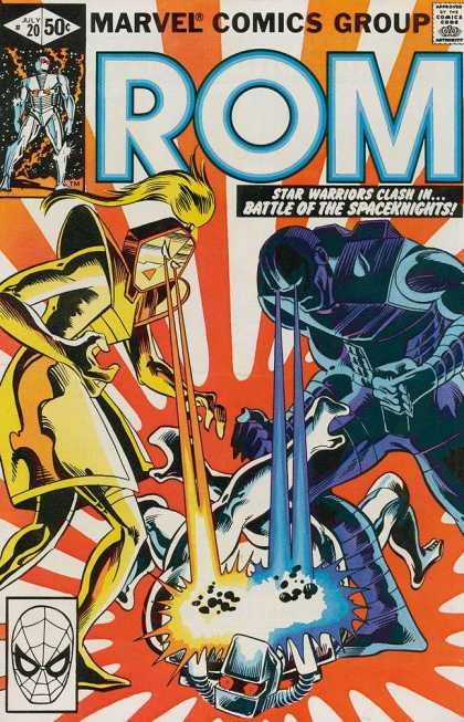 ROM Spaceknight 20 - Robot - Lazers - Eye Lazers - Orange Splat - Red Eyes