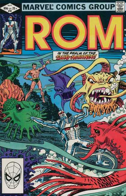 ROM Spaceknight 34 - Submariner - Octopus - Ocean - Bubbles - Monster Fish