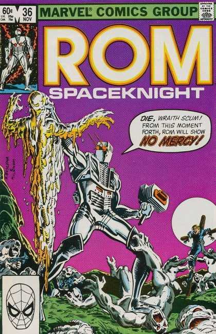ROM Spaceknight 36 - Marvel - No Mercy - November - Robot - Speech Bubble