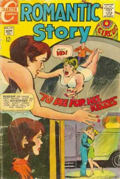 Romantic Story 102 - To Die For His Kisses - Circus - Woman Falling - Brown Haired Woman - White Bathing Suit