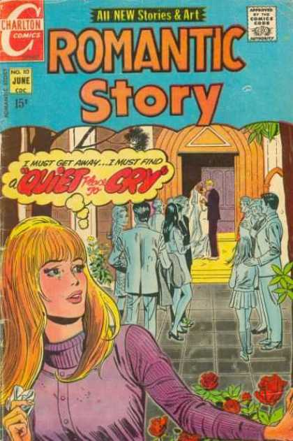 Romantic Story 113 - A Quiet Cry - Love Stories - Wedding At A Chapel - Sad Woman Near Front - Lots Of People