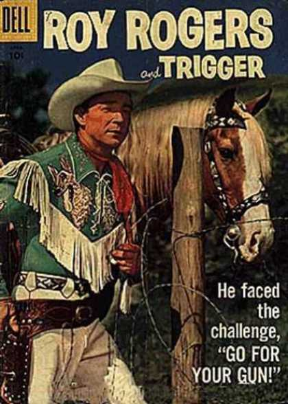 Roy Rogers Comics 112 - He Faced The Challenge - Go For Your Gun - Green Fringed Shirt - White Cowboy Hat - Fence Post