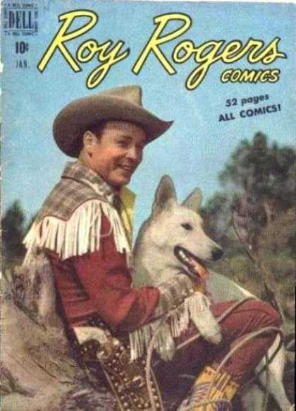 Roy Rogers Comics 25 - Man Holding Dog - Dell - All Comics - 52 Pages - Cowboy