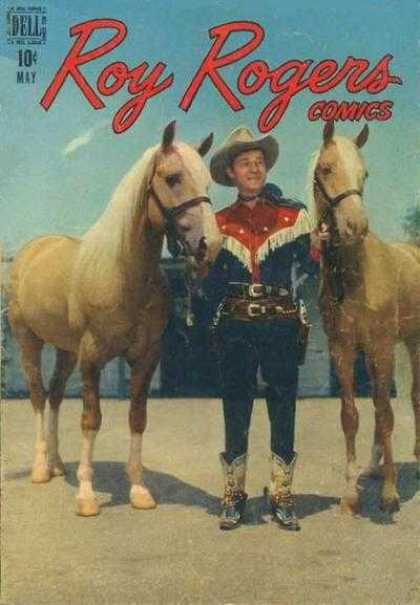 Roy Rogers Comics 5 - In This Picture The Ranger Having Two Horse - The Two Horse Are Some What White And Yellow Mixing Colour - The Person Having Two Gun In His Side Pocket - He Is A Good Gun Fighter - He Is Also A Good Horse Rider