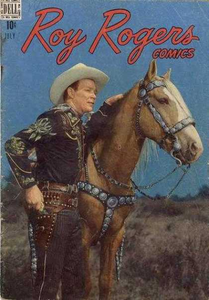 Roy Rogers Comics 7 - Horse - Hat - Outdoor - Watching Something - Dell