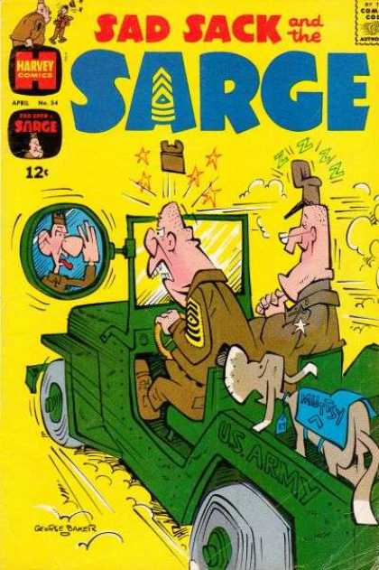 Sad Sack and the Sarge 54 - Army Jeep - Mutsy - Rear View Mirror - Reflection Sticking Out Tongue - Driving