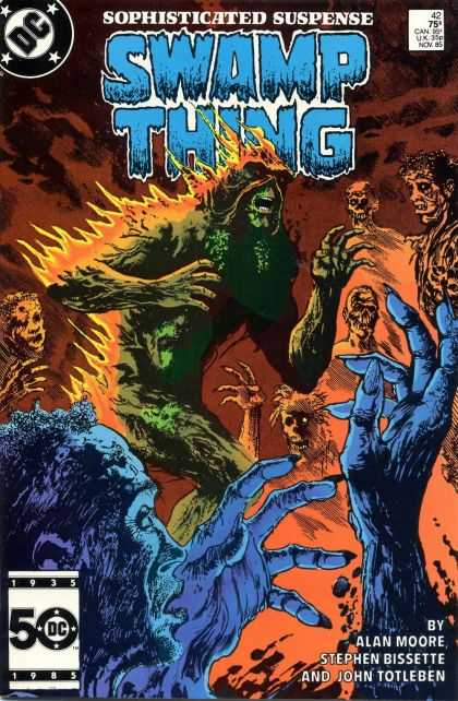 Saga of the Swamp Thing 42 - Suspense - Creatures - Flames - On Fire - Skeletons - John Totleben