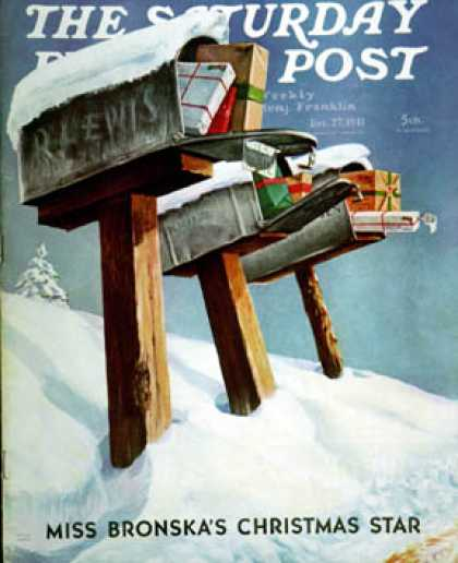 Saturday Evening Post - 1941-12-27: Mailboxes win Snow (Miriam Tana Hoban)