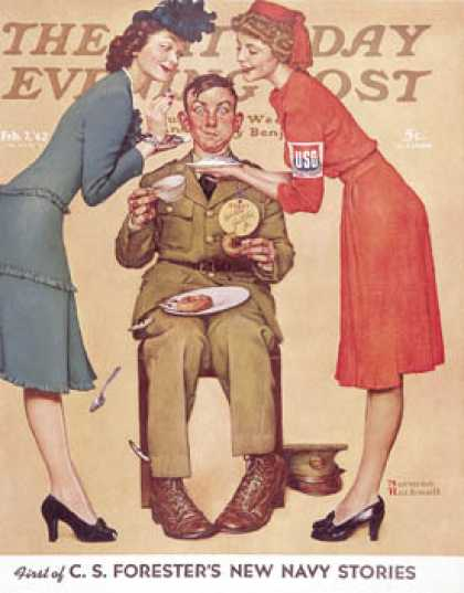 "Saturday Evening Post - 1942-02-07: ""Willie Gillis at the U.S.O."" (Norman Rockwell)"