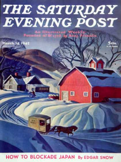 Saturday Evening Post - 1942-03-14: Mail Wagon in Snowy Landscape (Dale Nichols)