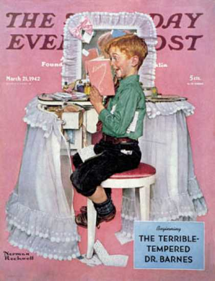 "Saturday Evening Post - 1942-03-21: ""Boy Reading his Sister's Diary"" (Norman Rockwell)"
