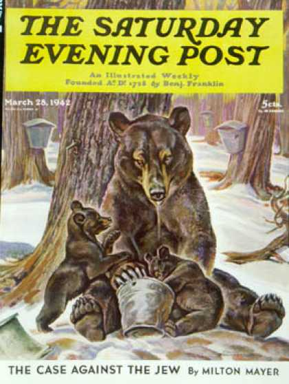 Saturday Evening Post - 1942-03-28: Bears Eating Maple Syrup (Paul Bransom)