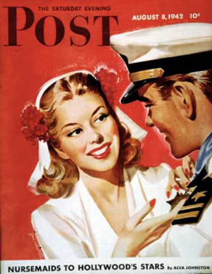 Saturday Evening Post - 1942-08-08: Naval Officer & Woman (Jon Whitcomb)