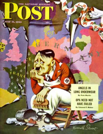 Saturday Evening Post - 1943-07-31: Hitler as Wallpaperer (Ken Stuart)