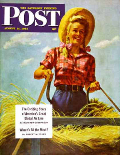 Saturday Evening Post - 1943-08-14: Woman Driving Hay Wagon (Ray Prohaska)