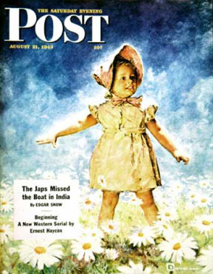 Saturday Evening Post - 1943-08-21: Daisy Among Daisies (Douglas Crockwell)