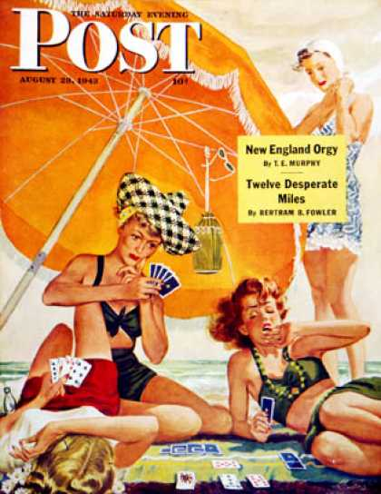 Saturday Evening Post - 1943-08-28: Card Game at the Beach (Alex Ross)