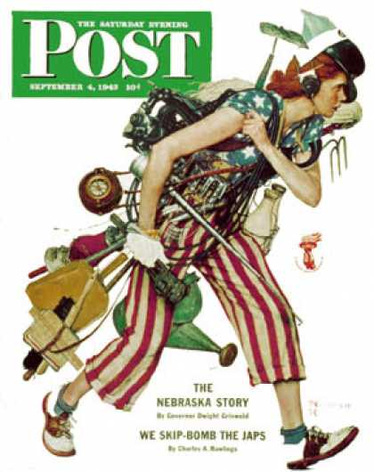 "Saturday Evening Post - 1943-09-04: ""Rosie to the Rescue"" (Norman Rockwell)"